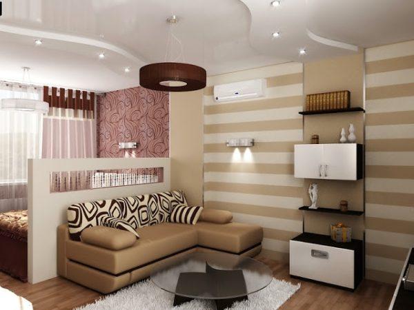 Небольшая перегородка в интерьере спальни-гостиной