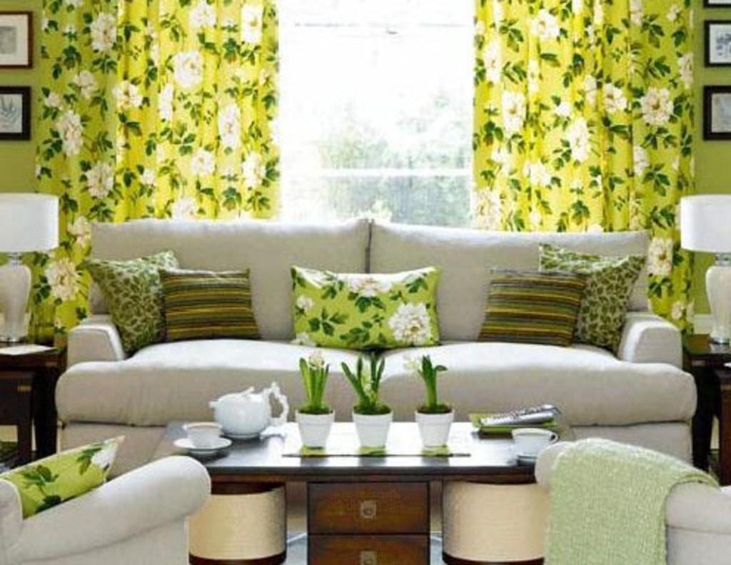 Зеленые шторы в интерьере фото гостиная