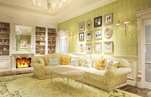 Большой угловой диван с камином