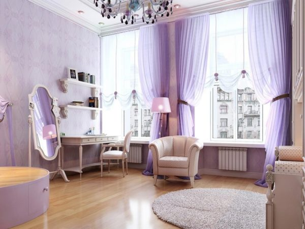 Светло сиреневые тона в гостиной
