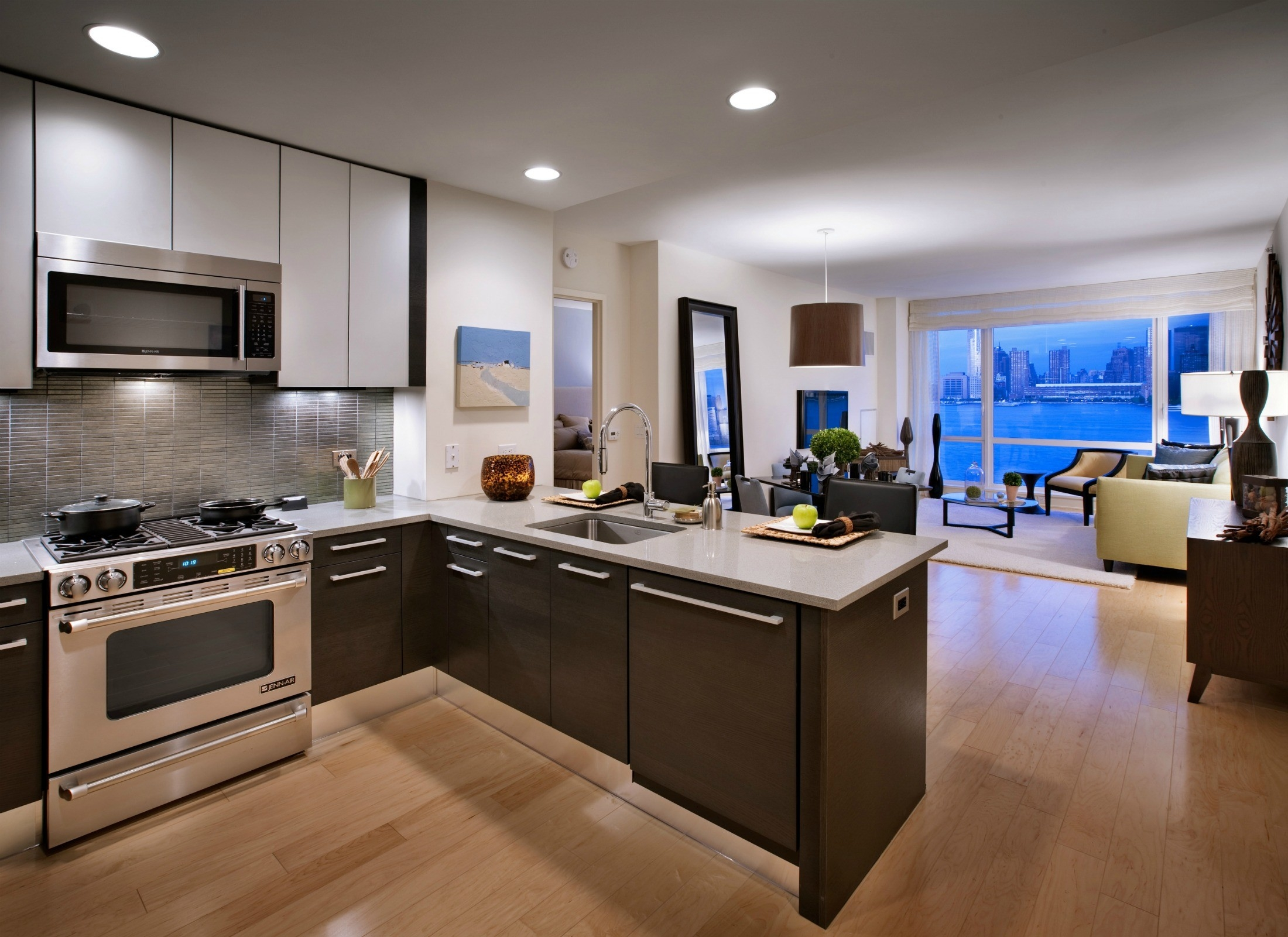Open Kitchen Living Room Small Kitchen Decorating Ideas For Apartment Open Kitchen Living Room Decorating Ideas Interior Design Ideas Kitchen Family Room within Contemporary Apartment Kitchen White Color Floor Interior Design