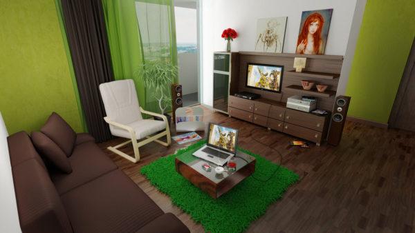 Зелёно-коричневая гостиная фото