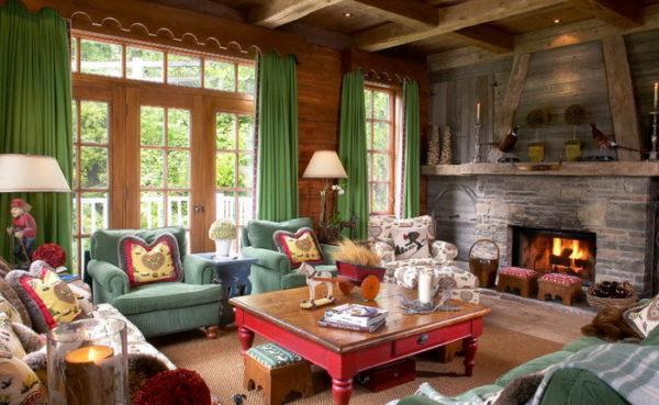 Зелёные шторы в гостиной в стиле лофт