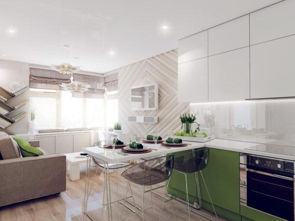 Зелёно-белая кухня-столовая
