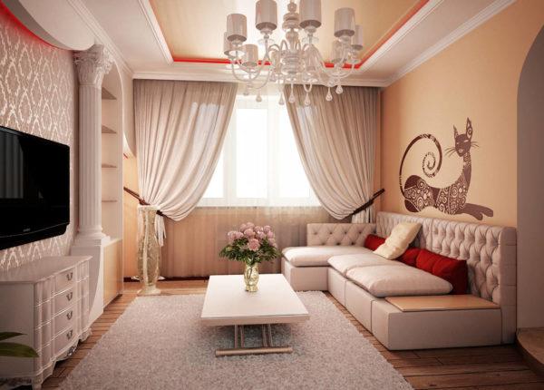 Небольшой зал в постельных тонах