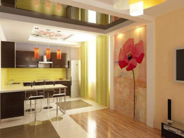 Большой красный мак в интерьере кухни-гостиной