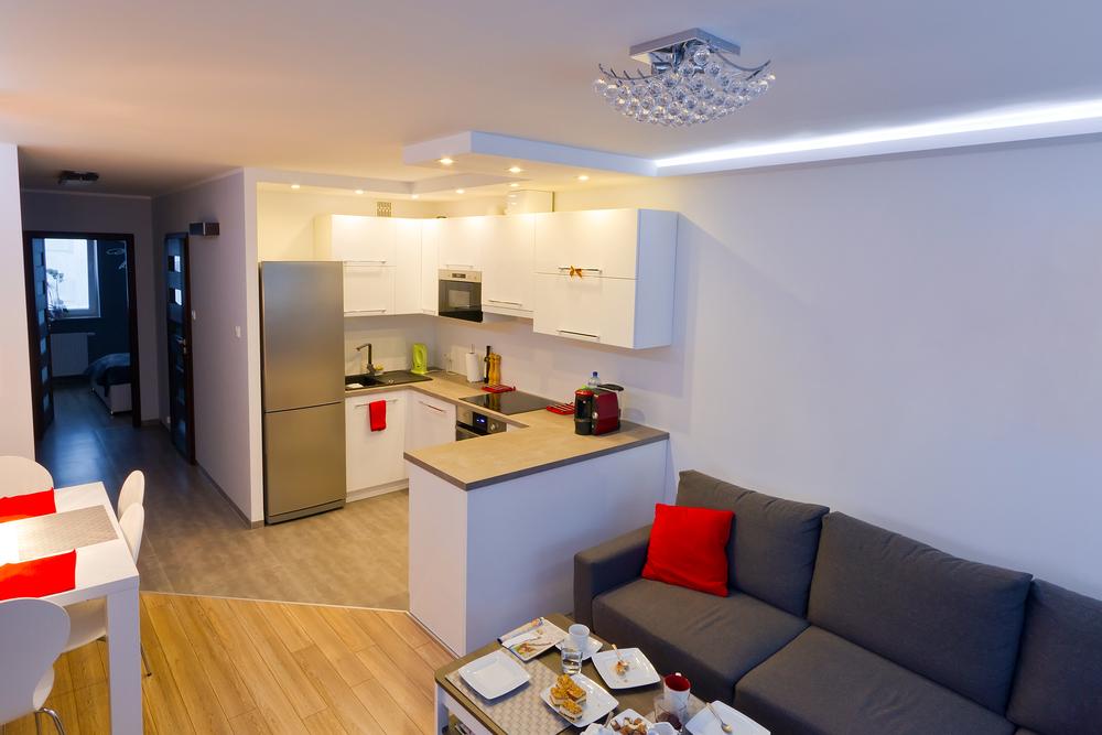 Дизайн кухни гостиной 18 кв. м фото с зонированием