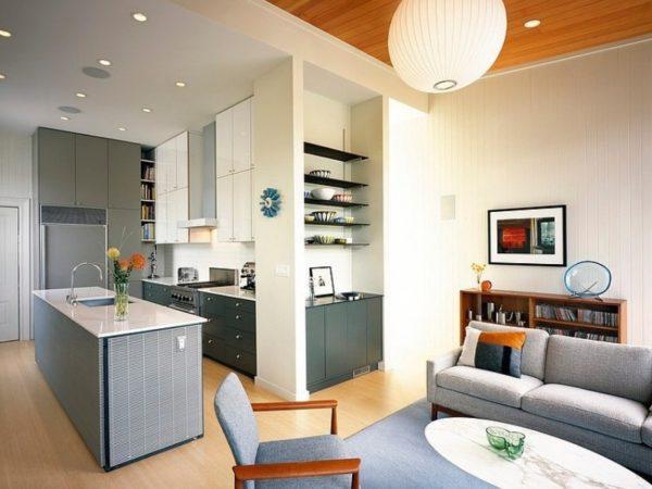 Современный стиль в кухне-гостине