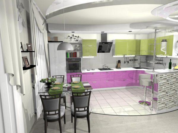 Зелёная и сереневая кухня-гостиная