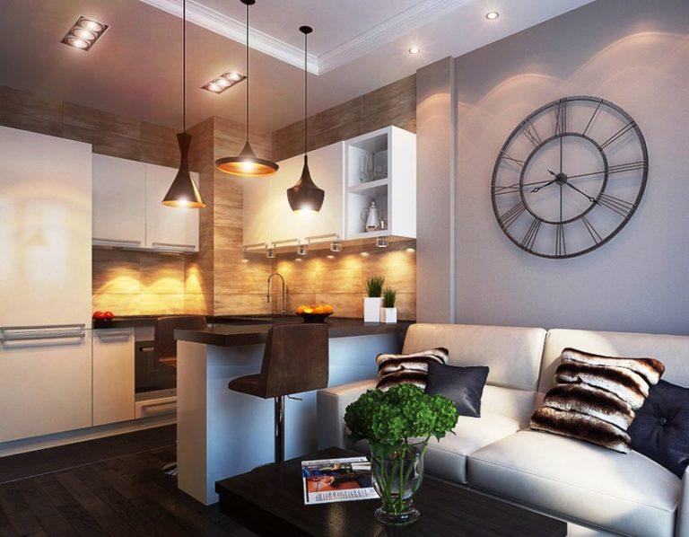 Дизайн интерьера маленькой кухни-гостиной