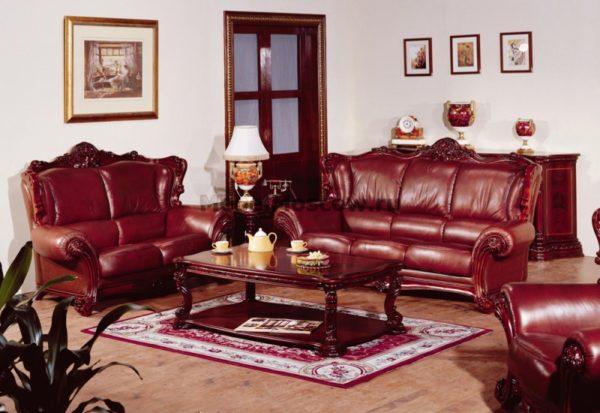 Коженая мебель в бордовом цвете