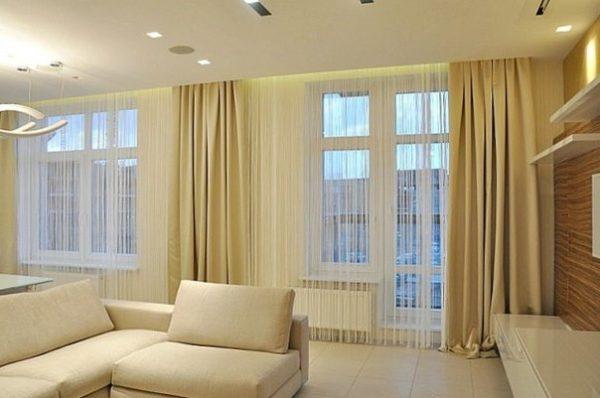 Нитяные кремовые шторы
