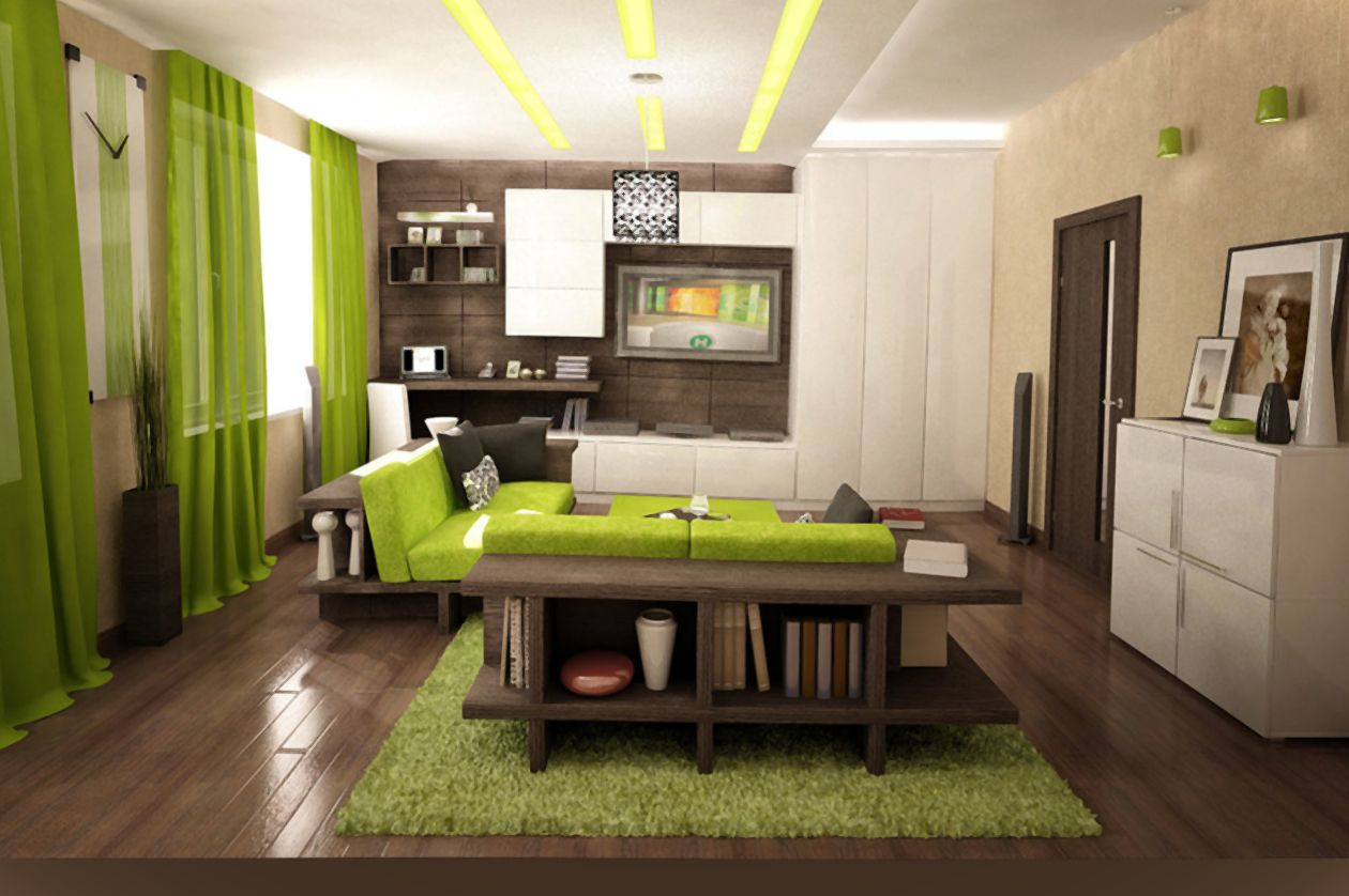 Интерьеры гостиной с зеленой мебелью