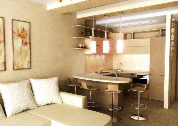 Кремовый оттенок в гостиной-кухни 13 кв.м