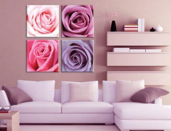 Большие розы на картине