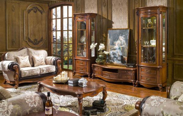 Мебель из массива дуба в гостиной
