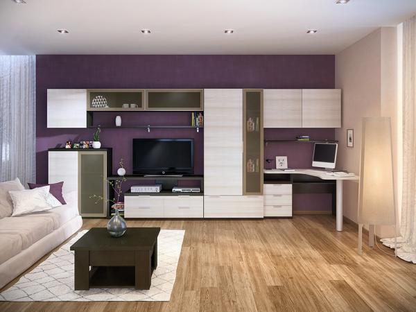Мебель корпусная в небольшой гостиной