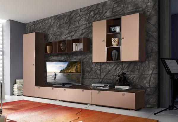 Корпусная мебель по всей дилине стенки в гостиной фото