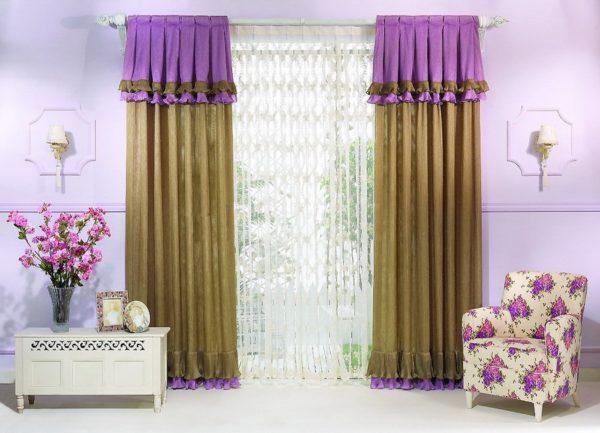 Сиренево-горчичные шторы