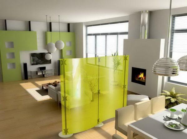 Использование ширмы в зонировании кухни-гостиной