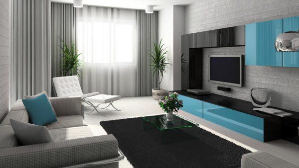 Чёрно-белый зал с голубыми элементами