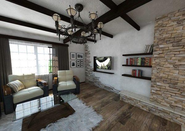 Гостиная с небольшим диваном и креслом