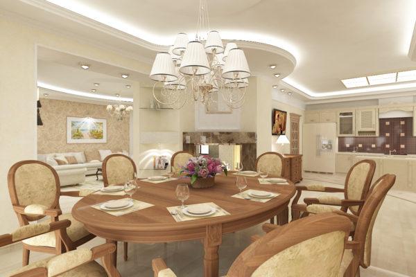 Zasnova kuhinje v zasebni hiši v klasičnem slogu