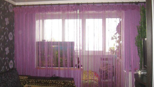 Сиреневые шторы кисея