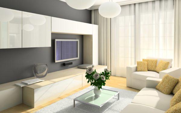 Современная светлая гостиная