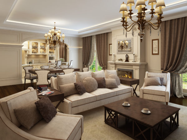 Сочетание коричневого цвета и деревянной мебели