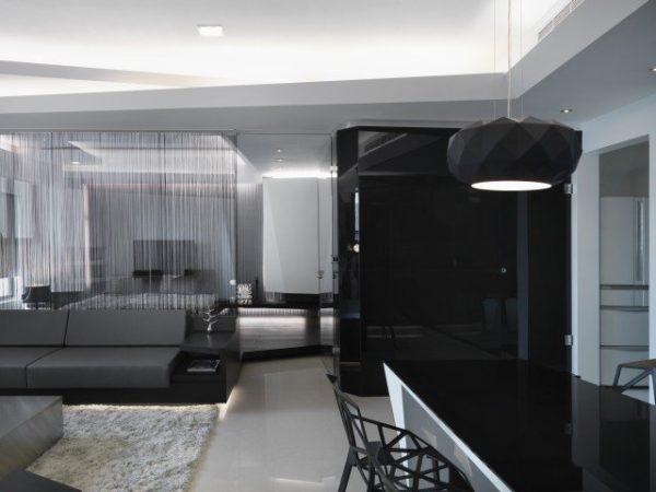Современый чёрно-белый зал