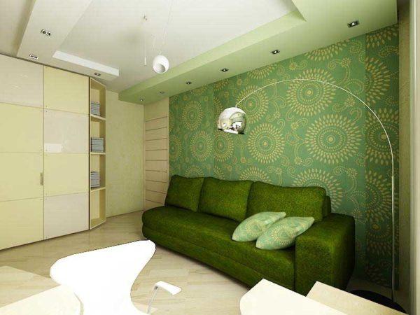 Тёмно зелёный диван