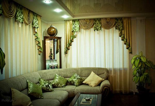 Оригинальные зелёные шторы фото
