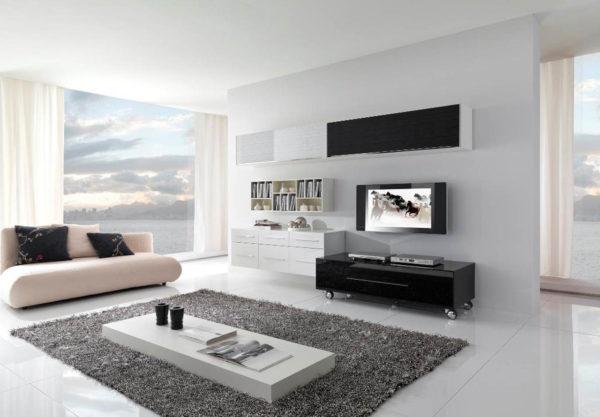 Белая современная гостиная фото