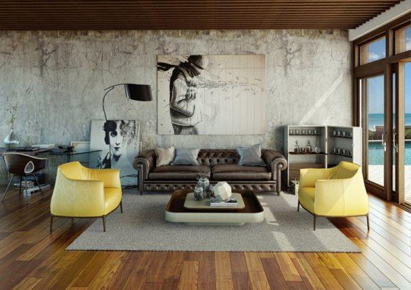 Жёлтые кресла на фоне серой гостиной