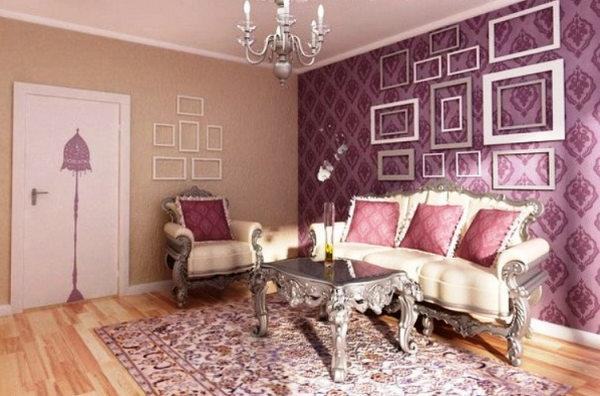 Фиолетовые обои с орнаментом