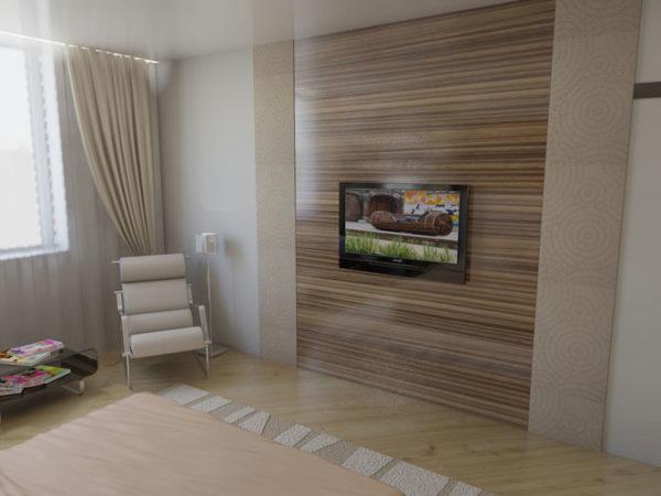 Гостиная с отделкой стен ламинатом