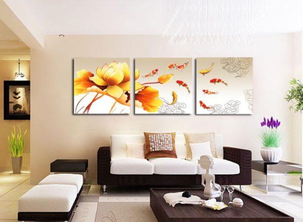 Оранжевые цветы на картине