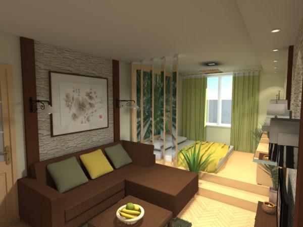 Фото разделения гостиной от спальной при помощи подиума и ширмы