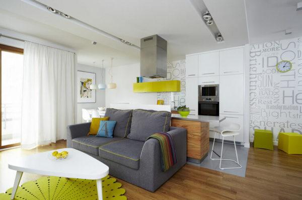 Салатавый цвет в гостиной-кухе 18 кв.м