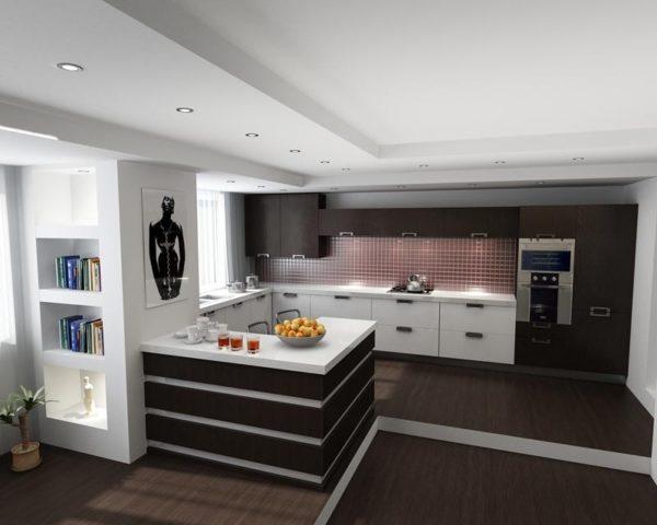 Тёмные и белые оттенки в кухне-гостиной