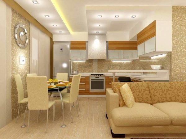 Гостиная-кухня в бежевых тонах