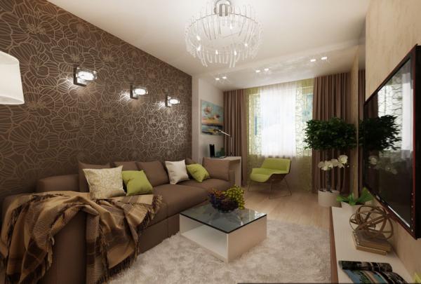 Коричневый цвет в гостиной