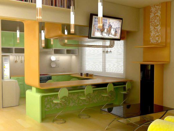 Оранжево-салатовая кухня-гостиная фото