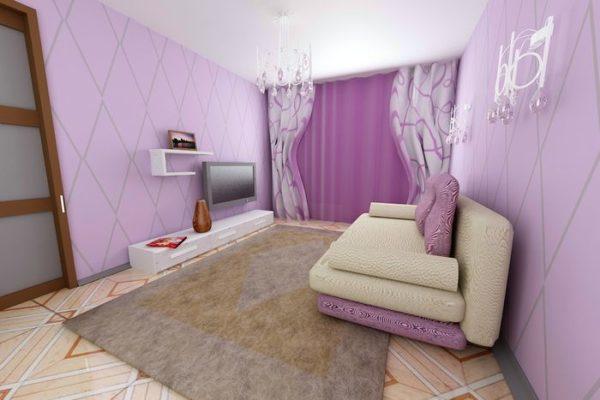 Бежевый диван в сиреневой гостиной