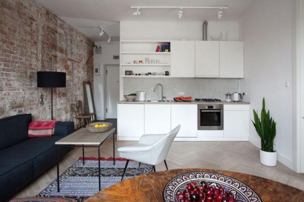 Современая гостиная-кухня фото