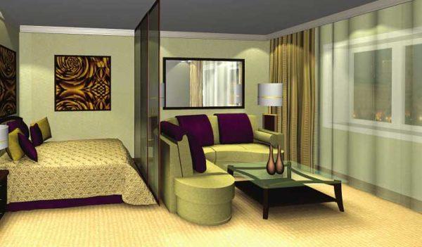 Зелёные тона в спальне-гостиной