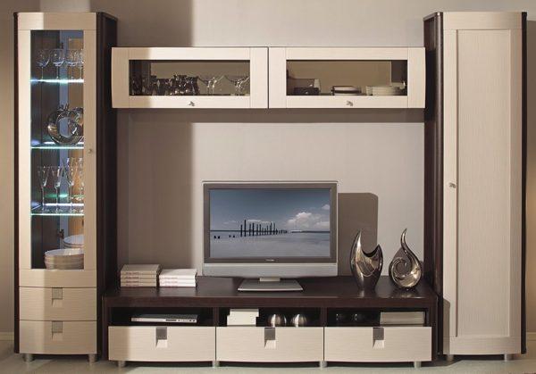 Корпусная мебель для гостиной в стиле Фьюжн