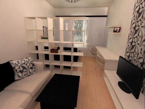 Фото стеллаж в гостиной-спальне