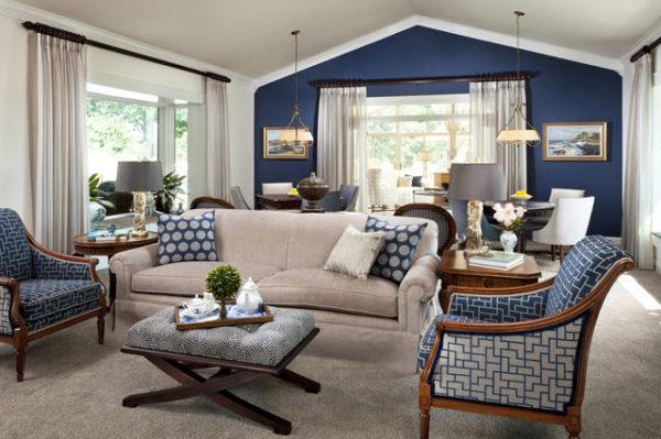 Бежево-синяя гостиная фото